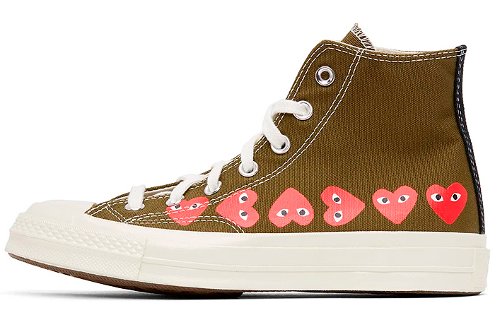 CDG x Converse Chuck 70 High Multi Heart Marrón